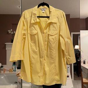 3x CJ Banks 3/4 sleeve button up front shirt